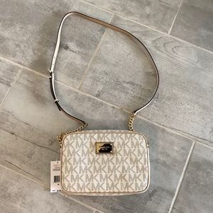 Michael Kors tan/white crossbody bag nwt